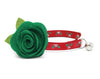 "Cat Collar + Flower Set - ""Holly Jolly Red"" - Holly Berries on Red Cat Collar w/ Clover Green Felt Flower (Detachable)"