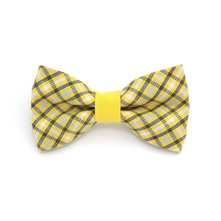 "Bow Tie Cat Collar Set - ""Magic Hour"" - Yellow Plaid Cat Collar w/ Matching Bow Tie (Removable)"