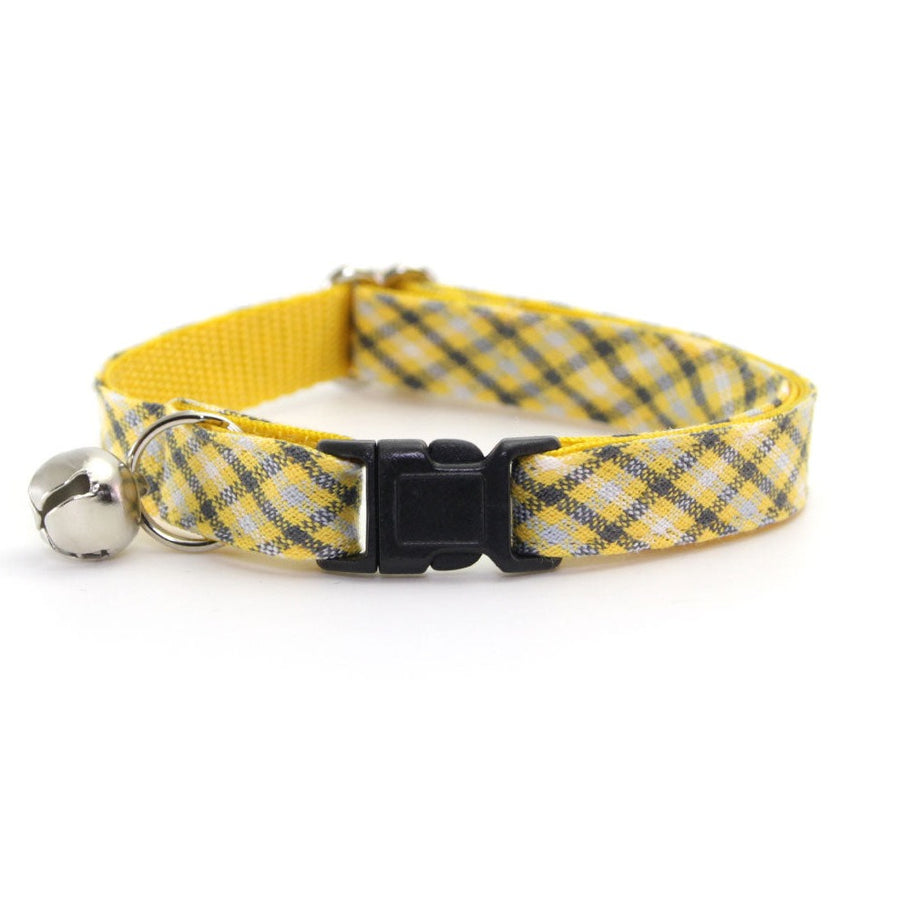 "Cat Collar - ""Magic Hour"" - Yellow & Gray Plaid - Breakaway Buckle or Non-Breakaway / Cat, Kitten + Small Dog Sizes"