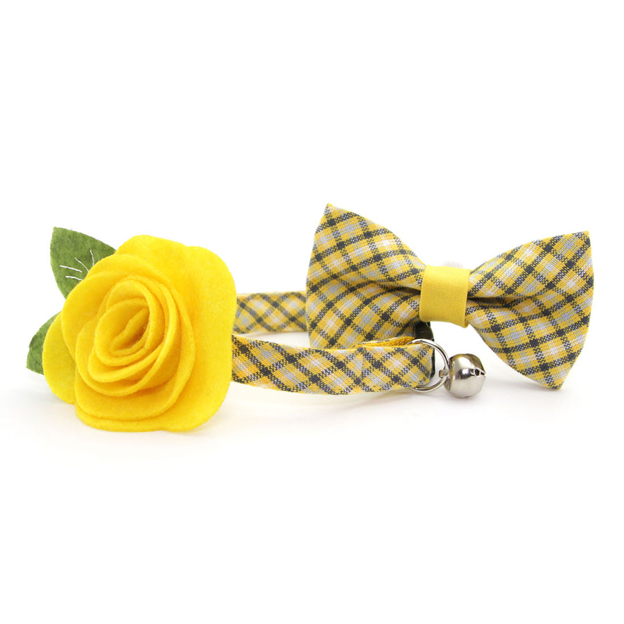 "Cat Bow Tie - ""Magic Hour"" - Yellow & Gray Plaid Bowtie / For Cats + Small Dogs / Removable (One Size)"