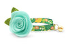 "Cat Collar + Flower Set - ""Lemon Trees - Green"" Botanical Cat Collar w/ ""Mint"" Felt Flower (Detachable)"