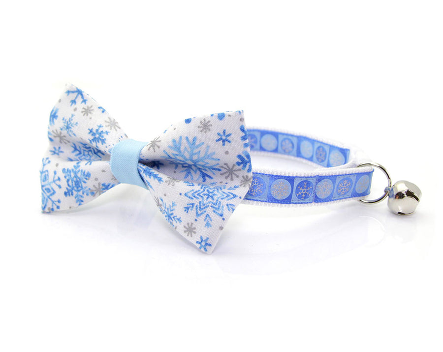 "Holiday Pet Bow Tie - ""Snowflakes"" - Blue & Silver Snowflakes on White - Winter / Christmas / Hanukkah - Detachable Bowtie for Cats + Dogs"