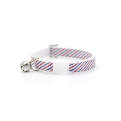 "Cat Collar + Flower Set - ""Liberty"" - Red & Blue Striped Seersucker Cat Collar w/ Scarlet Red Felt Flower (Detachable) / 4th of July / Patriotic"