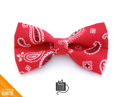 "Cat Bow Tie - ""Lone Ranger Red"" - Western Red Handkerchief Theme / Cat + Small Dog / Removable (One Size)"