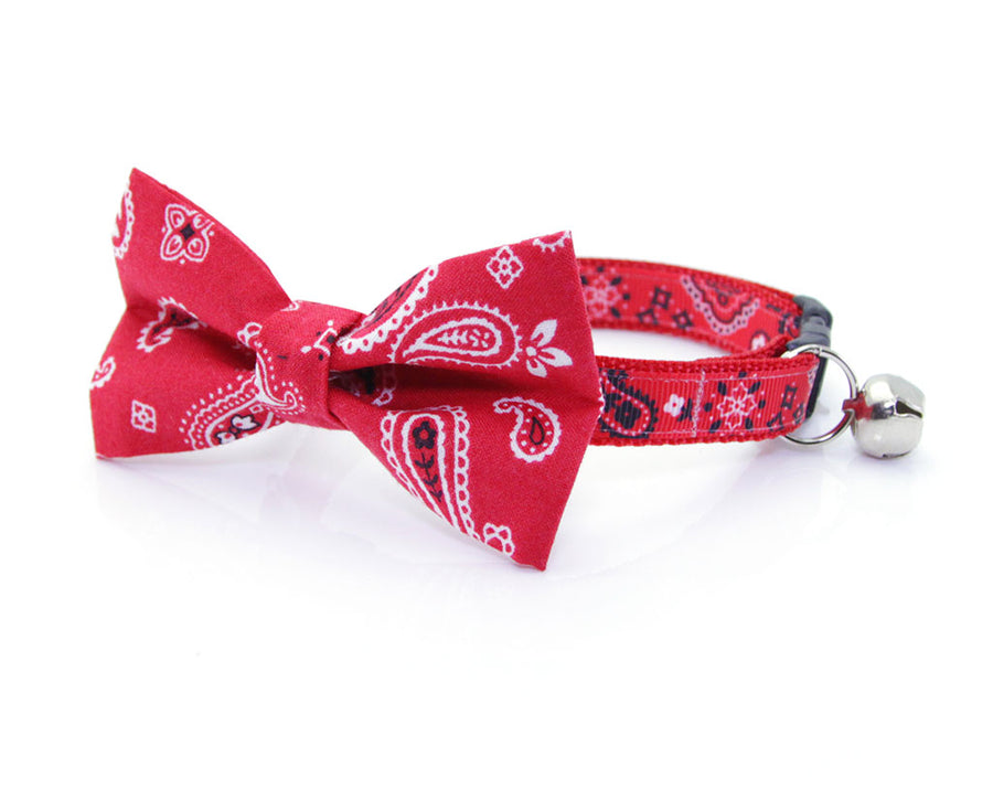 "Cat Bow Tie - ""Lone Ranger Red"" - Western Red Handkerchief Bandana / Cat + Small Dog / Removable (One Size)"