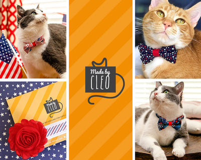 "Pet Bow Tie - ""Fireworks / Blue"" - Celebration Bowtie For Cats + Small Dogs / Red White & Blue / 4th of July"