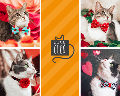"Valentine Bow Tie Cat Collar Set - ""Poker Face"" - Heart Cat Collar with ""Garnet Red Velvet Bow Tie"" (Removable) / Breakaway Collar or Non-Breakaway"