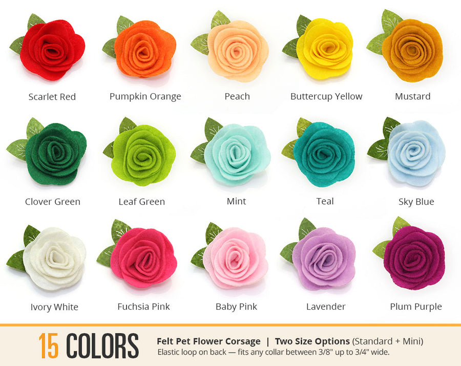 Pet Flower Corsages (15 Felt Colors) - Sold Individually - For Cat Collar + Small Dog Collar / Wedding Pet / Standard or Mini Size Option