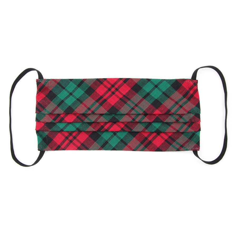 "Face Mask with Filter Pocket - ""Fireside"" - Red & Green Holiday Plaid / Christmas / Washable / 100% Double-Layered Cotton / Made in USA"
