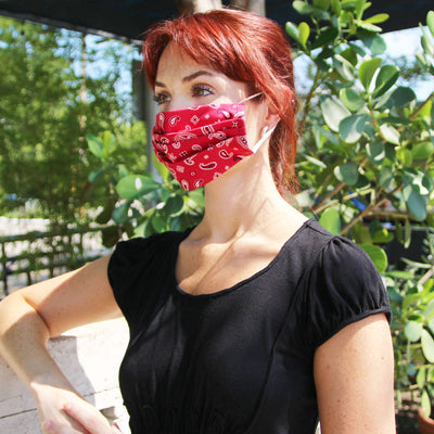 "Face Mask with Filter Pocket - ""Lone Ranger Red"" - Paisley Handkerchief Red - Washable / 100% Double-Layered Cotton / Made in USA"