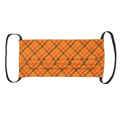 "Face Mask with Filter Pocket - ""Persimmon Plaid"" - Fall Orange Plaid / Thanksgiving / Washable / 100% Double-Layered Cotton / Made in USA"