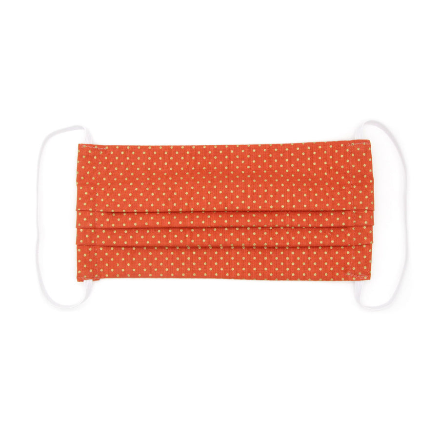 "Face Mask with Filter Pocket - ""Pumpkin Spice"" - Fall Orange Polka Dot / Washable / 100% Double-Layered Cotton / Made in USA"