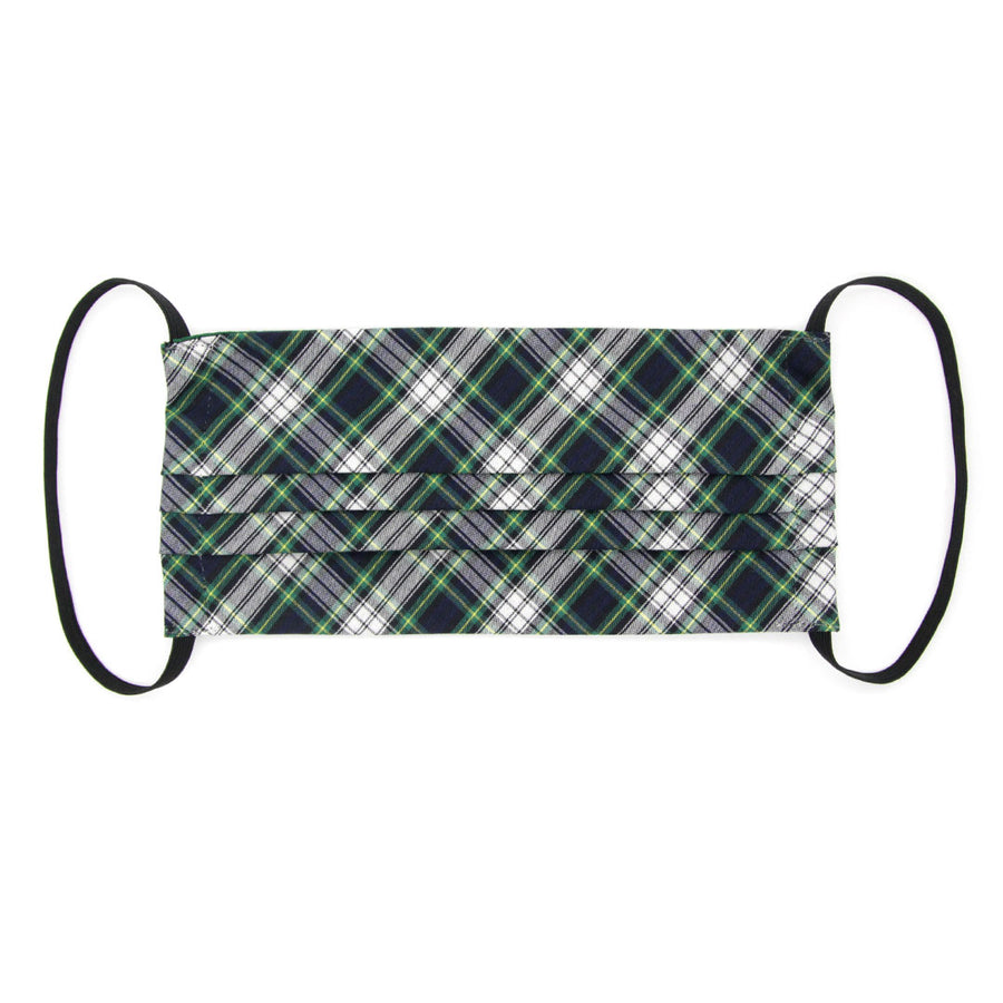 "Face Mask with Filter Pocket - ""Scout"" - Blue & Green Plaid / Washable / 100% Double-Layered Cotton / Made in USA"