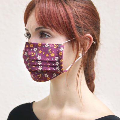 "Face Mask with Filter Pocket - ""Spiced Plum"" - Wine Purple Fall Floral  / Washable / 100% Double-Layered Cotton / Made in USA"