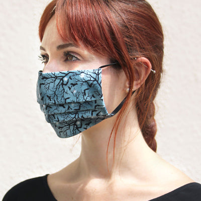 "Face Mask with Filter Pocket - ""Witching Hour"" - Bats on Midnight Gray / Halloween / Washable / 100% Double-Layered Cotton / Made in USA"