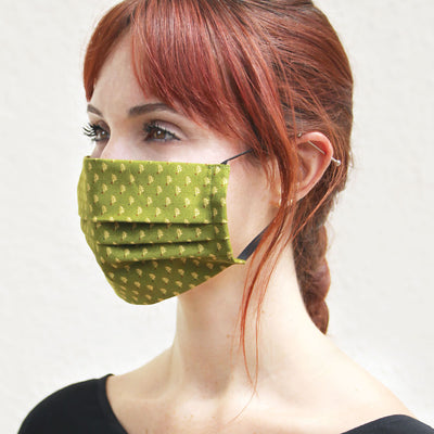 "Face Mask with Filter Pocket - ""Woodmont"" - Oak Leaves on Olive Green / Washable / 100% Double-Layered Cotton / Made in USA"