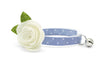 "Cat Collar + Flower Set - ""Merritt"" - Light Blue Chambray Dot Cat Collar w/  ""Ivory"" Felt Flower (Detachable) / Wedding / Cat & Small Dog"
