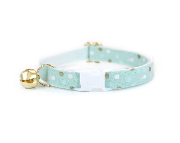 "Flower Cat Collar Set - ""Reverie"" - Mint w/ Gold & White Dot Collar + Mint Detachable Flower Corsage"