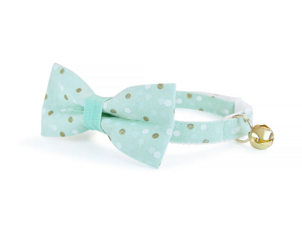 "Cat Collar - ""Reverie"" - Mint w/ Gold & White Dots - Breakaway Safety Buckle or Non-Breakaway - Sizes for Cat, Kitten, Small Dog"