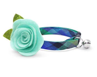 "Cat Collar + Flower Set - ""Moonrise"" - Blue & Green Plaid Cat Collar w /  ""Mint"" Felt Flower (Detachable)"