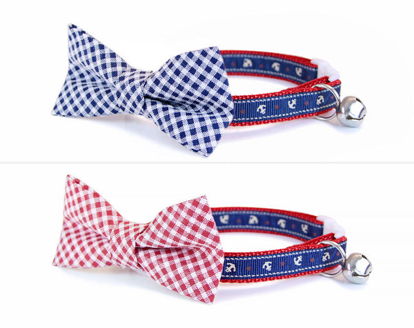 "Nautical Cat Collar - ""Nantucket Blue"" - Anchors on Navy Blue w/ Red Lining - Beach Preppy Summer Sailor - Breakaway Buckle or Non-Breakaway"