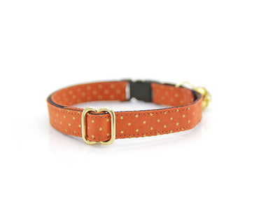 "Fall Flower Cat Collar Set - ""Pumpkin Spice"" - Burnt Orange w/ Gold Dots Collar + Creamsicle Swirl Detachable Flower"