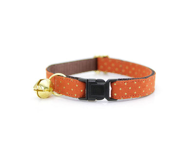"Fall Flower Cat Collar Set - ""Pumpkin Spice"" - Burnt Orange w/ Gold Dots Collar + Creamsicle Dot Detachable Flower"