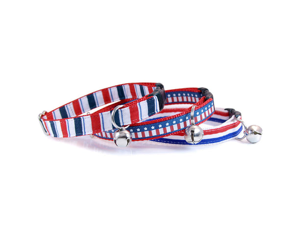 "Bow Tie Cat Collar Set - ""Hero"" - Red, White & Blue Detachable Bow Tie + Matching Collar"
