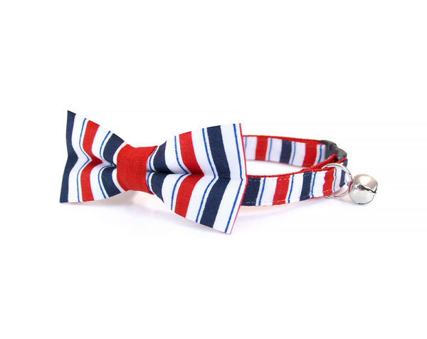 "Cat Collar - ""Hero"" - Red, White and Navy Blue Patriotic Stripes - 4th of July / Baseball"