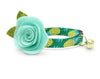 "Tropical Cat Collar + Flower Set - ""Pineapple Aqua"" - Summer Green + Mint Cat Collar w/  ""Mint"" Felt Flower (Detachable) / Fruit / Cat & Small Dog"