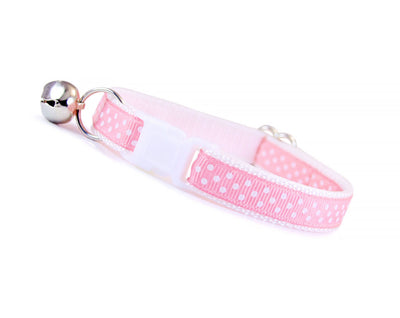 "Cat Collar - ""My Girl"" - Light Pink w/ White Polka Dots"