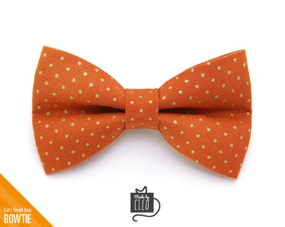 "Pet Bow Tie - ""Pumpkin Spice"" - Burnt Orange with Gold Dots - Fall / Autumn / Thanksgiving - Detachable Bowtie for Cats + Dogs"