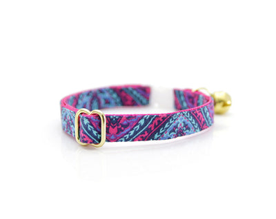 "SPECIAL RESERVE STOCK - Cat Collar - ""Indigo"" - Tribal Damask w/ Berry Pink Lining"