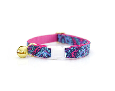 "Boho Cat Collar - ""Indigo"" - Tribal Damask w/ Berry Pink Lining - Breakaway Buckle or Non-Breakaway - Sizes for Cat, Kitten, Small Dog"