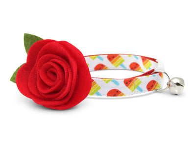 "Cat Collar + Flower Set - ""Rainbow Popsicles"" - Red Popsicle Cat Collar w/  ""Scarlet Red"" Felt Flower (Detachable) / Ice Cream / Cat & Small Dog"