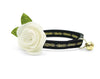 "Velvet Cat Collar + Flower Set - ""Regency Black"" - Velvet w/ Gold Embroidery Cat Collar + Ivory Felt Flower (Detachable)"