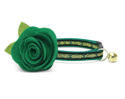 "Velvet Cat Collar + Flower Set - ""Regency Green"" - Velvet w/ Gold Embroidery Cat Collar + Clover Green Felt Flower (Detachable)"