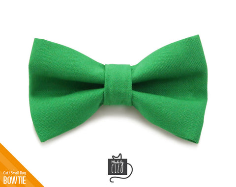 "Pet Bow Tie - ""Roman Holiday"" - Emerald Green Detachable Bowtie for Cats + Dogs - St. Patrick's Day"
