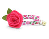 "Cat Collar + Flower Set - ""Rosalie"" - Pink Floral Cat Collar w /  ""Fuchsia"" Felt Flower (Detachable)"