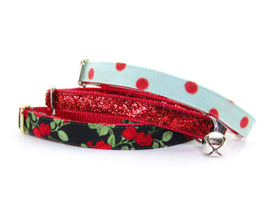 "Cat Collar - ""Superstar"" - Red Sparkle Cat Collar - Breakaway Buckle or Non-Breakaway - Cat + Small Dog Sizes"