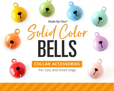 Solid Color Pet Collar Jingle Bell (9 Styles) - Pick One - For Cat Collars & Small Dog Collars