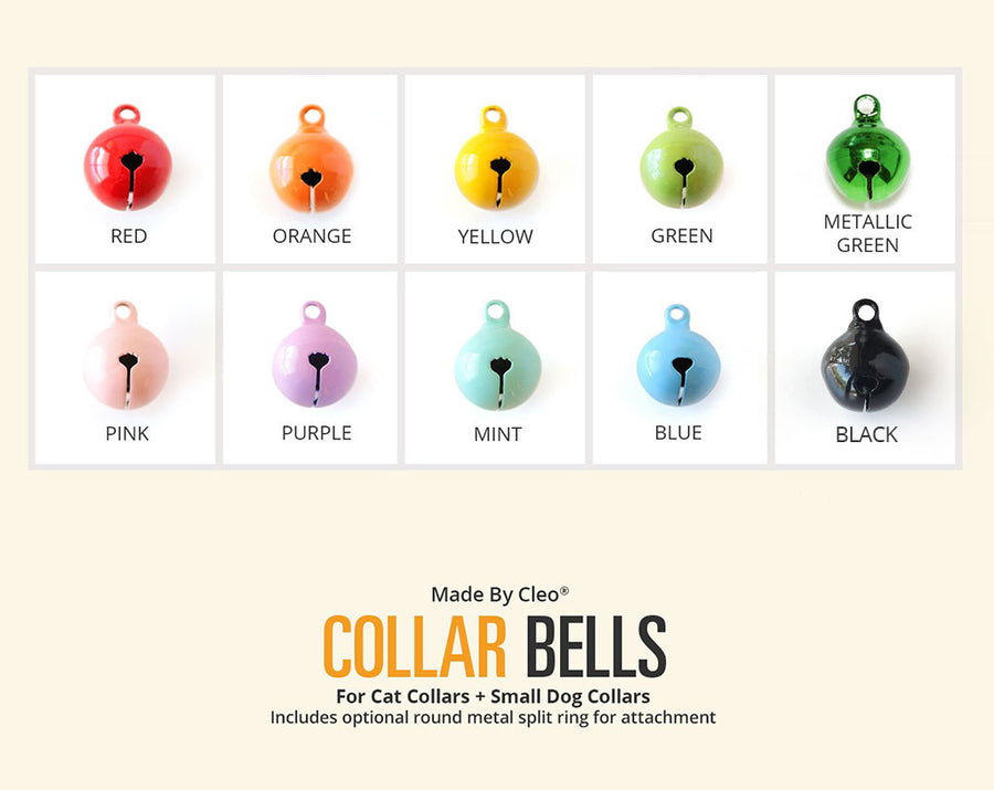 Solid Color Pet Collar Jingle Bell (10 Colors) - Pick One - For Cat Collars & Small Dog Collars