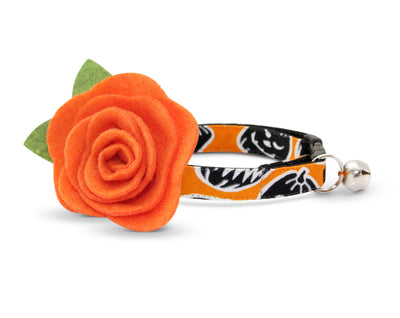 "Halloween Cat Collar with Flower Set - ""Sleepy Hollow"" - Glow in the Dark Pumpkin Cat Collar + Orange Felt Flower - Cat & Small Dog Sizes"
