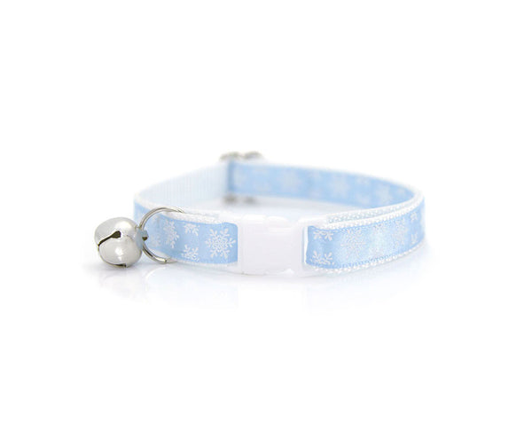 "Winter Flower Cat Collar Set - ""Snowbound"" - Snowflakes on Baby Blue Collar + Sky Blue Detachable Flower"
