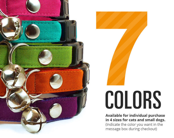 Solid Colors (7 Styles) - Pick One - Cat Collar & Dog Collar Sizes - (Red, Blue, Pink, Teal, Green, Orange, Purple)