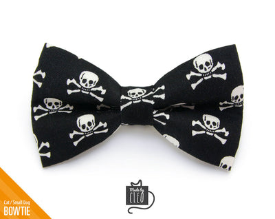 "Halloween Pet Bow Tie - ""Spirit Walker - Black"" - Skulls on Black - Detachable Bowtie for Cats + Dogs"