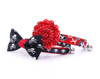 "Halloween Pet Bow Tie - ""Spirit Walker - Red"" - Skulls on Black w/ Red Tie - Detachable Bowtie for Cats + Dogs"