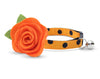 "Cat Collar + Flower Set - ""Spooky Dots / Pumpkin Orange"" - Polka Dot Cat Collar w / Orange Felt Flower (Detachable)"