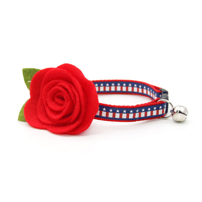 "Cat Collar + Flower Set - ""Stars & Stripes"" - American Flag Cat Collar w/ Scarlet Red Felt Flower (Detachable) / 4th of July / USA"