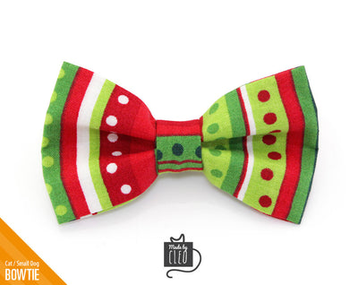 "Pet Bow Tie - ""The Grinch"" - Holiday Dots - Detachable Bowtie for Cats + Dogs"